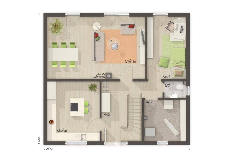 Grundriss Einfamilienhaus Erdgeschoss Küche geschlossen & Arbeitszimmer, 6 Zimmer, 130 qm - Massivhaus bauen Ideen Town Country Haus FLAIR 134 - HausbauDirekt.de