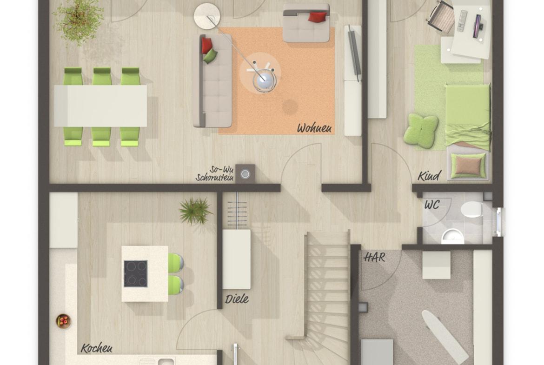 Einfamilienhaus Grundriss Erdgeschoss mit Kinderzimmer - Massivhaus schlüsselfertig bauen Ideen Town Country Haus Flair 134 - HausbauDirekt.de
