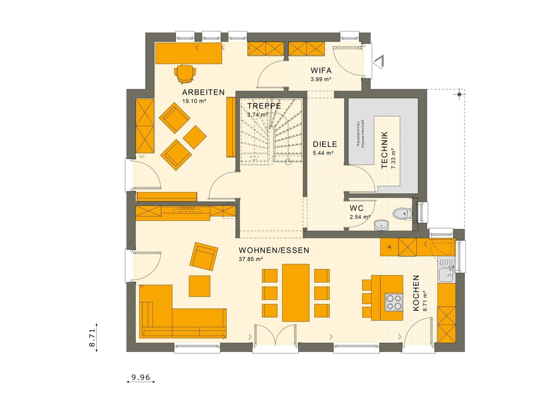 Einfamilienhaus Grundriss Erdgeschoss mit Windfang, 5 Zimmer, 140 qm - Fertighaus Living Haus SUNSHINE 143 V2 - HausbauDirekt.de