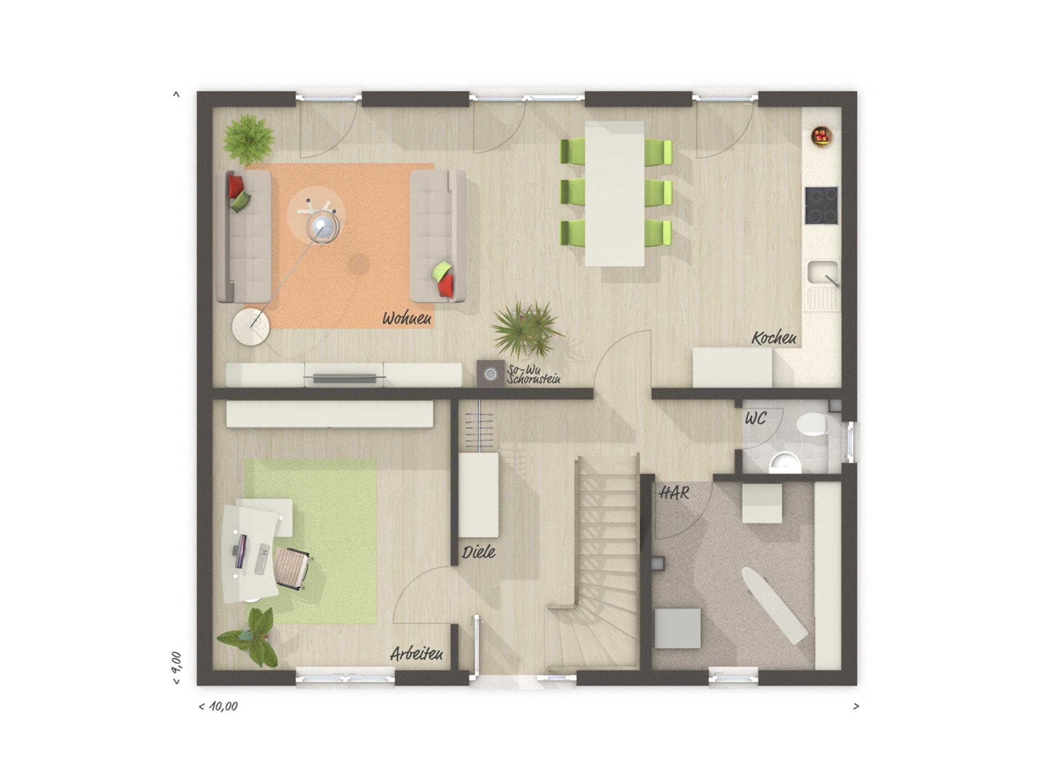 Grundriss Einfamilienhaus Erdgeschoss offene Küche & großes Büro, 6 Zimmer, 130 qm - Massivhaus bauen Ideen Town Country Haus FLAIR 134 - HausbauDirekt.de