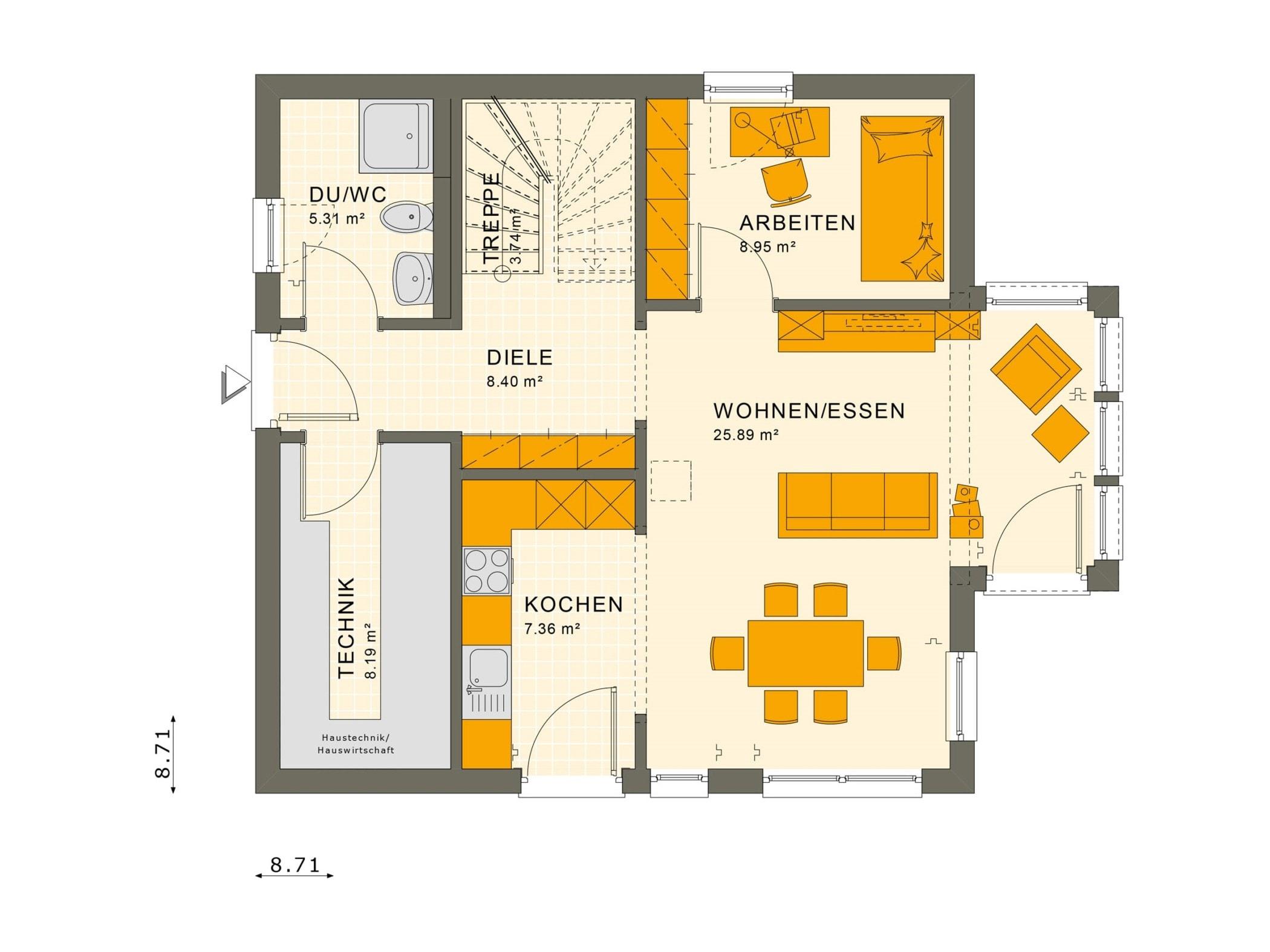 Einfamilienhaus Grundriss Erdgeschoss quadratisch mit Erker, 5 Zimmer, 125 qm - Fertighaus Living Haus SUNSHINE 126 V2 a - HausbauDirekt.de