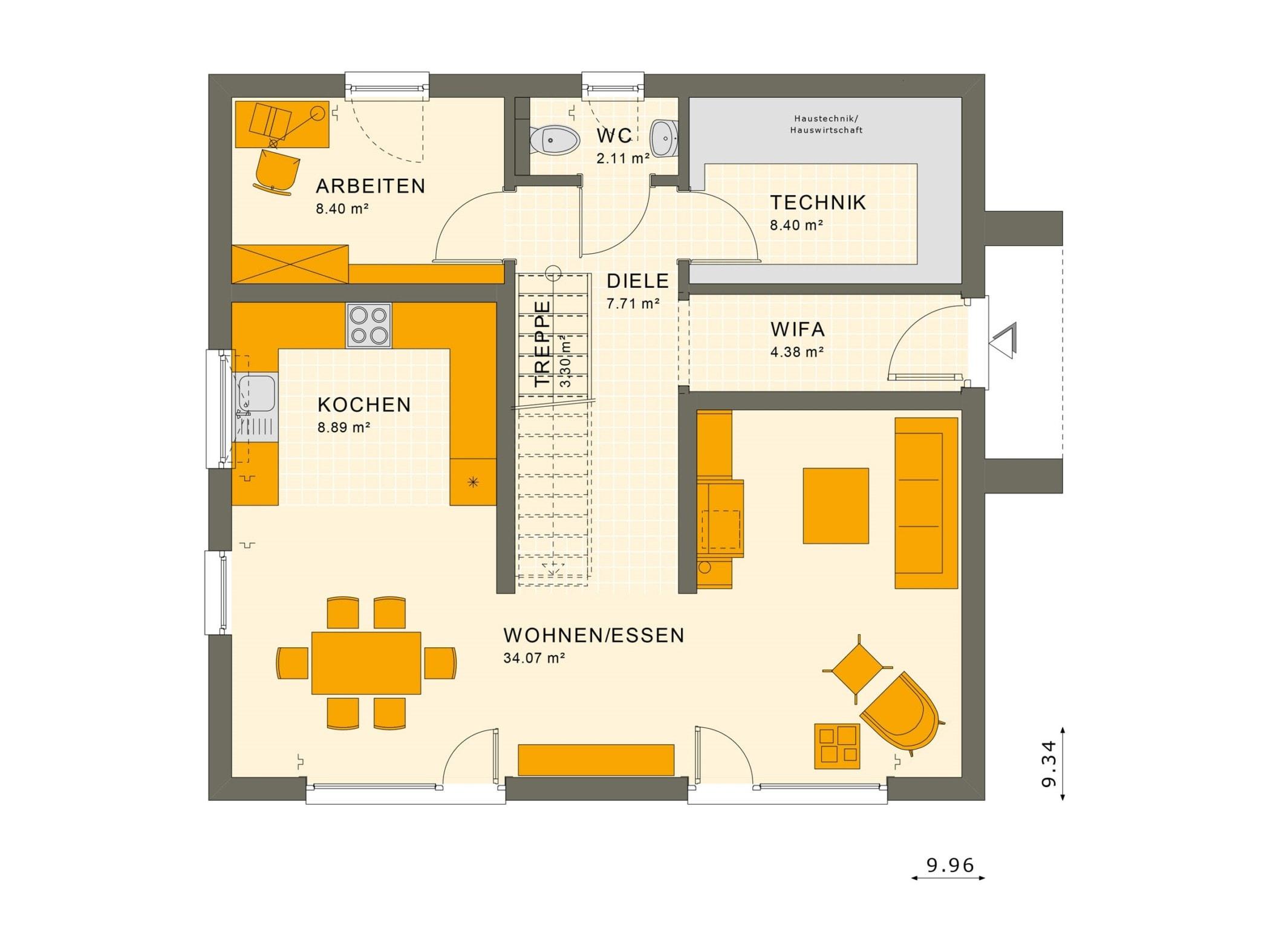 Einfamilienhaus Grundriss Erdgeschoss gerade Treppe mittig, 5 Zimmer, 150 qm - Fertighaus Living Haus SUNSHINE 154 V3 - HausbauDirekt.de
