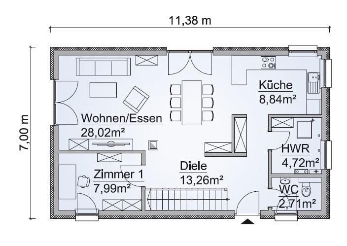 Einfamilienhaus Grundriss Erdgeschoss schmal, Treppe gerade, 5 Zimmer, 123 qm - Fertighaus schlüsselfertig bauen Ideen ScanHaus Marlow Haus SH-127-S-Variante-A - HausbauDirekt.de