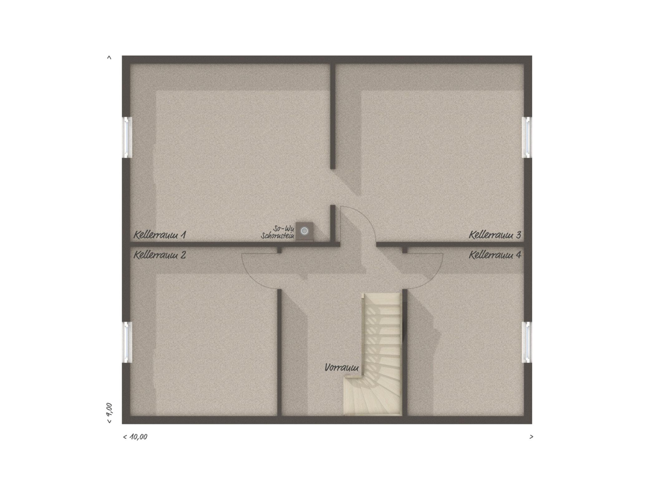 Grundriss Einfamilienhaus Keller, 6 Zimmer, 130 qm - Massivhaus bauen Ideen Town Country Haus FLAIR 134 - HausbauDirekt.de