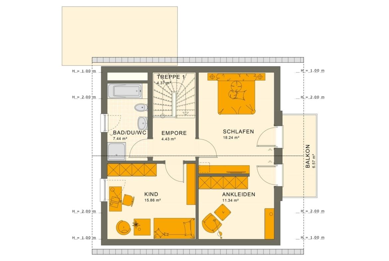 Fertighaus Grundriss Obergeschoss mit Satteldach, 5 Zimmer, 125 qm - Einfamilienhaus Neubau Living Haus SUNSHINE 126 V3 - HausbauDirekt.de