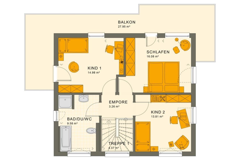 Grundriss Einfamilienhaus Obergeschoss mit Flachdach, 5 Zimmer, 125 qm - Fertighaus Living Haus SUNSHINE 125 V7 - HausbauDirekt.de