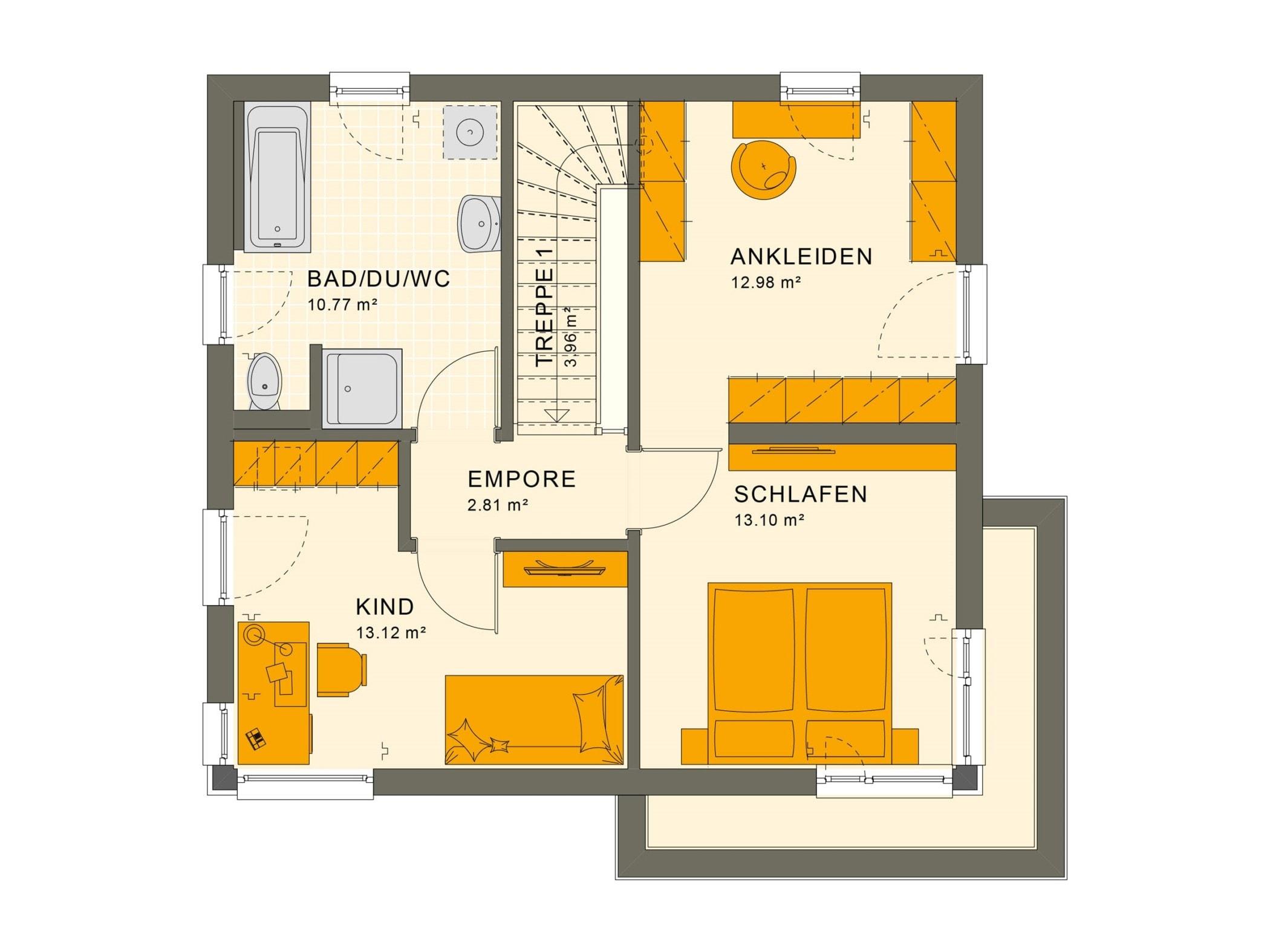 Einfamilienhaus Grundriss Obergeschoss mit Flachdach Architektur im Bauhausstil - Haus bauen Ideen Fertighaus Stadtvilla SUNSHINE 113 V8 von Living Haus - HausbauDirekt.de