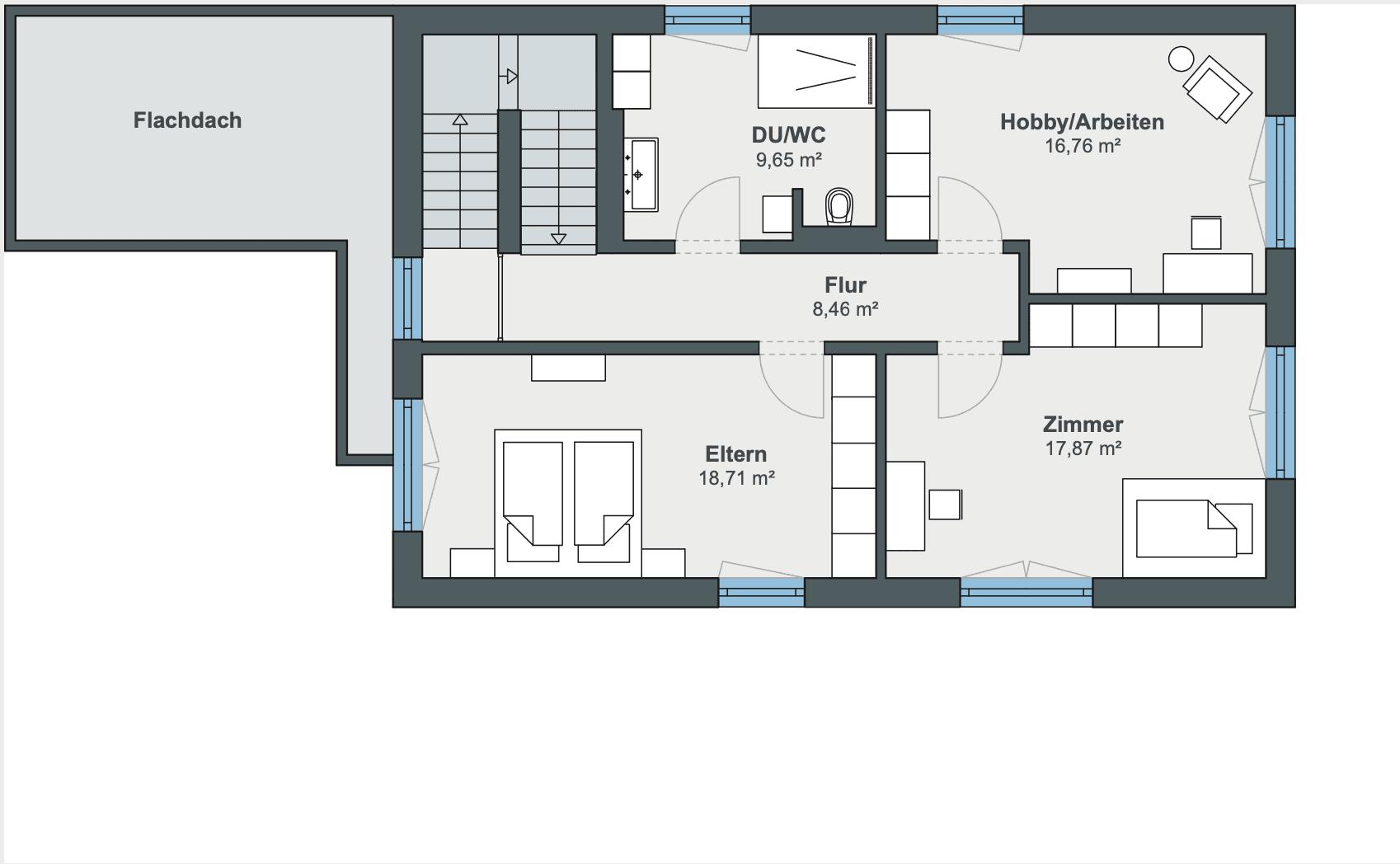 Einfamilienhaus Grundriss Obergeschoss rechteckig mit Satteldach, 3 Zimmer - Haus Design Ideen Fertighaus Sunshine 220 WeberHaus - HausbauDirekt.de