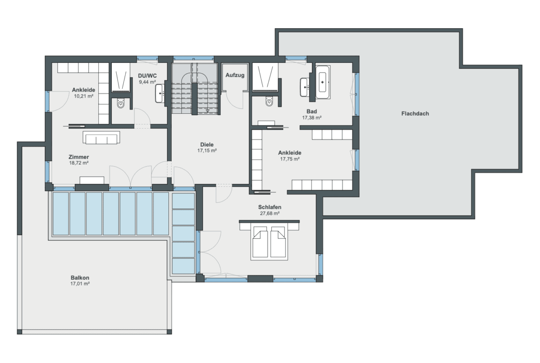 Einfamilienhaus Grundriss Obergeschoss mit Flachdach - Luxus Haus WeberHaus Fertighaus - HausbauDirekt.de