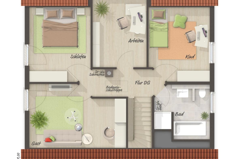 Einfamilienhaus Grundriss Obergeschoss mit Satteldach, 3 Kinderzimmer - Massivhaus schlüsselfertig bauen Ideen Town Country Haus Flair 134 - HausbauDirekt.de