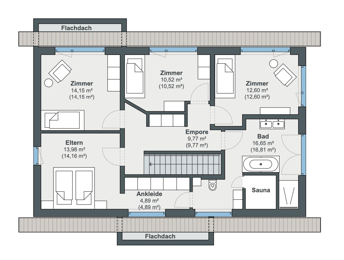Einfamilienhaus Grundriss Obergeschoss mit Satteldach, 3 Kinderzimmer & gerade Treppe - Haus Design Ideen Modernes Landhaus WeberHaus Fertighaus - HausbauDirekt.de