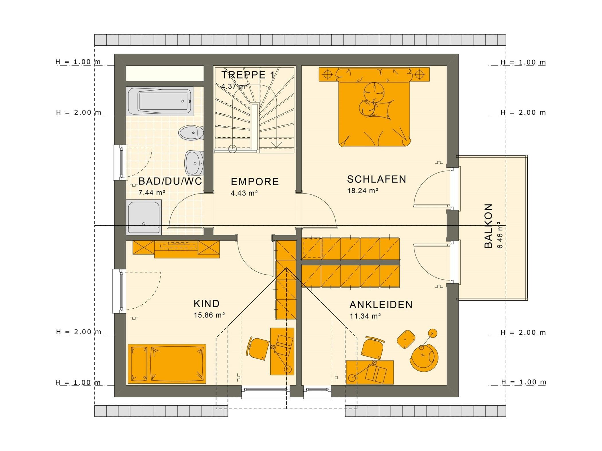 Einfamilienhaus Grundriss Obergeschoss mit Satteldach, 5 Zimmer, 125 qm - Fertighaus Living Haus SUNSHINE 126 V2 a - HausbauDirekt.de