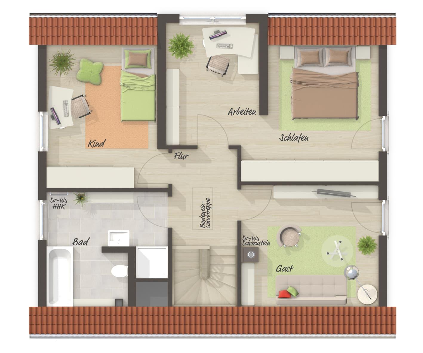 Einfamilienhaus Grundriss Obergeschoss mit Satteldach & Zwerchgiebel - Massivhaus schlüsselfertig bauen Ideen Town & Country Haus Lichthaus 121 Klinker - HausbauDirekt.de