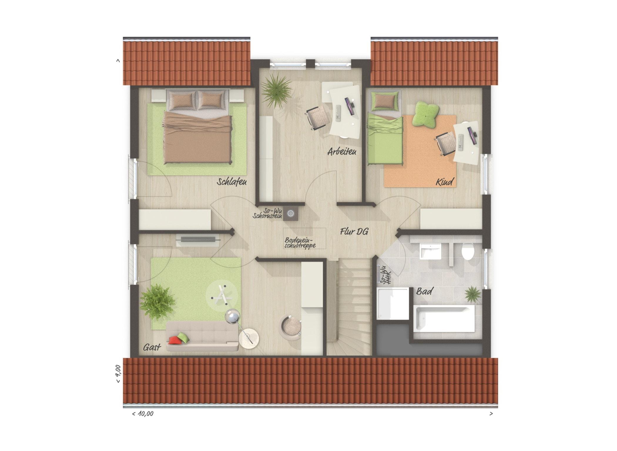 Grundriss Einfamilienhaus Obergeschoss mit Satteldach & 3 Kinderzimmer, 6 Zimmer, 130 qm - Massivhaus bauen Ideen Town Country Haus FLAIR 134 - HausbauDirekt.de