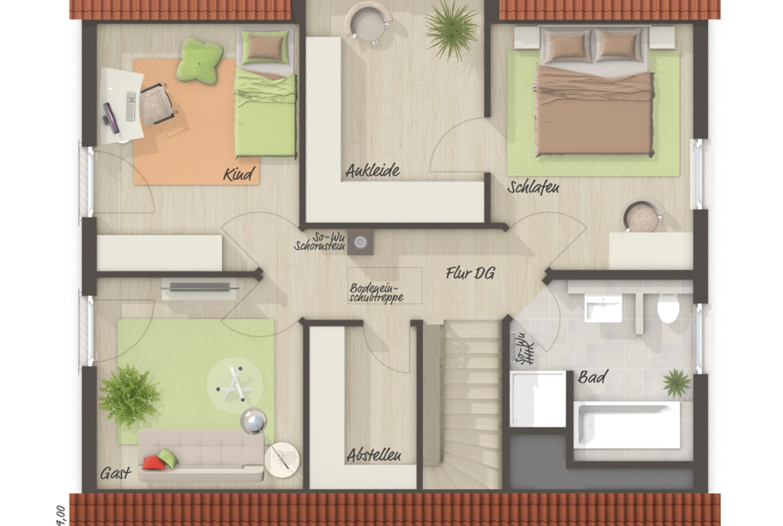 Einfamilienhaus Grundriss Obergeschoss mit Ankleide - Massivhaus schlüsselfertig bauen Ideen Town Country Haus Flair 134 - HausbauDirekt.de