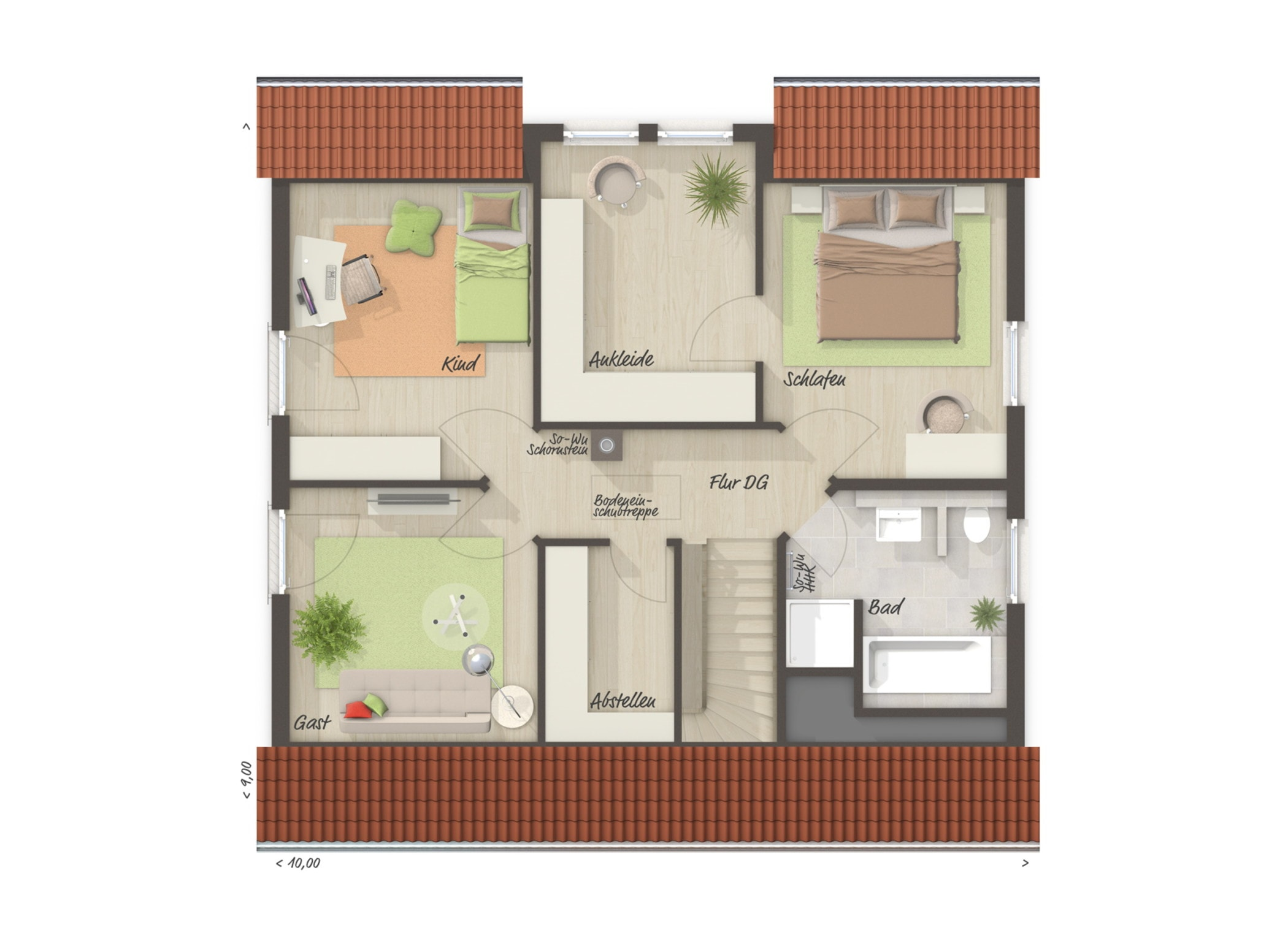 Grundriss Einfamilienhaus Obergeschoss mit Satteldach, 2 Kinderzimmer & Ankleide, 6 Zimmer, 130 qm - Massivhaus bauen Ideen Town Country Haus FLAIR 134 - HausbauDirekt.de