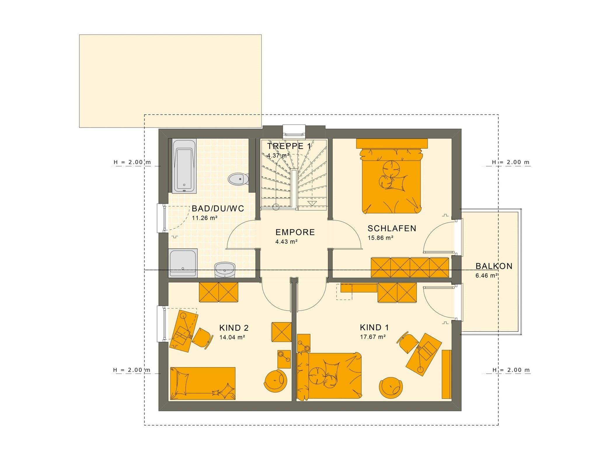 Einfamilienhaus Grundriss Obergeschoss mit Satteldach & Balkon, 5 Zimmer, 135 qm - Fertighaus Living Haus SUNSHINE 136 V5 - HausbauDirekt.de
