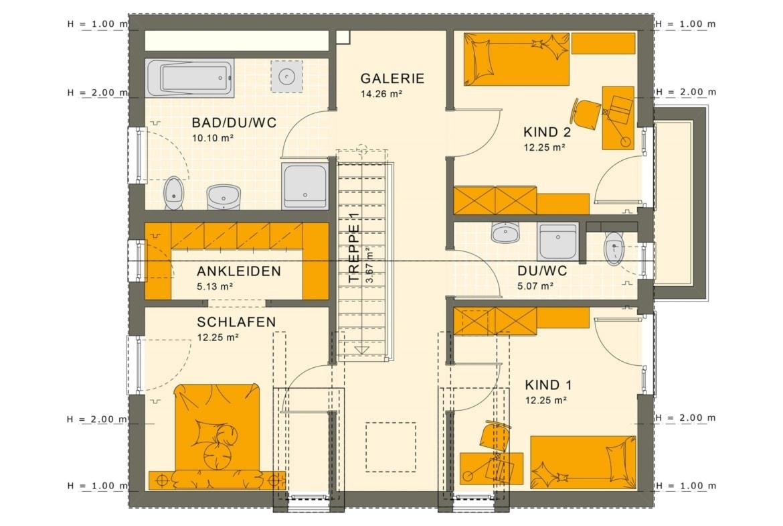 Einfamilienhaus Grundriss Obergeschoss mit Satteldach & gerade Treppe mit Galerie, 5 Zimmer, 150 qm - Fertighaus Living Haus SUNSHINE 154 V3 - HausbauDirekt.de