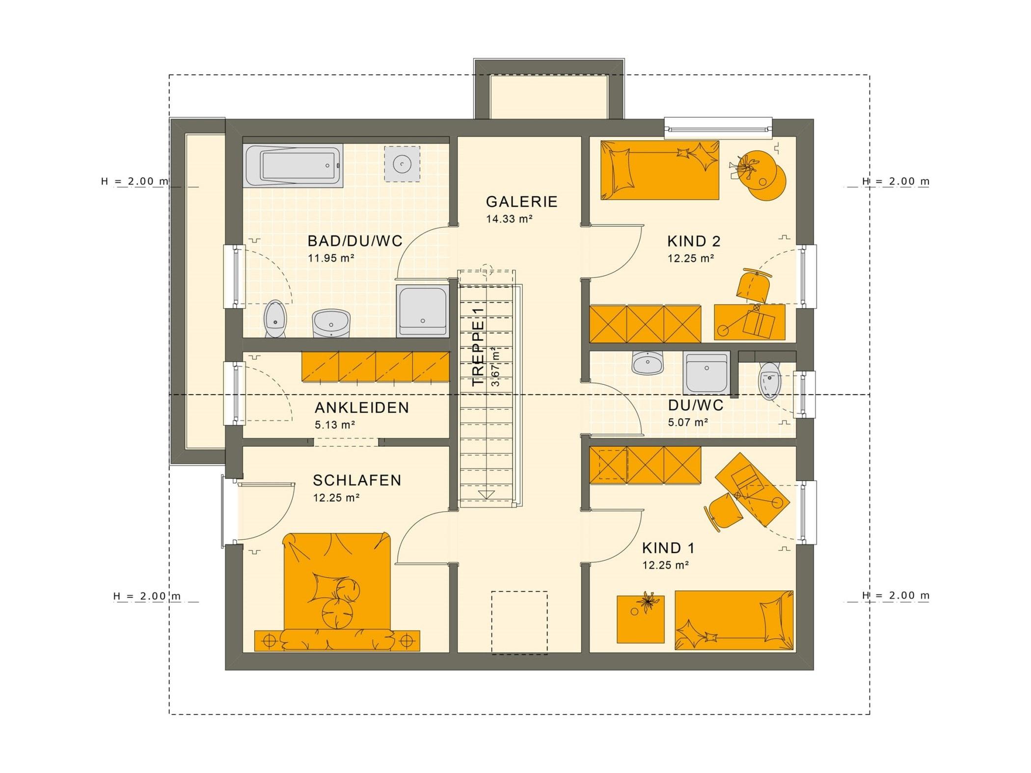 Einfamilienhaus Grundriss Obergeschoss mit Satteldach, gerade Treppe & Galerie, 5 Zimmer, 150 qm - Fertighaus Living Haus SUNSHINE 154 V5 - HausbauDirekt.de