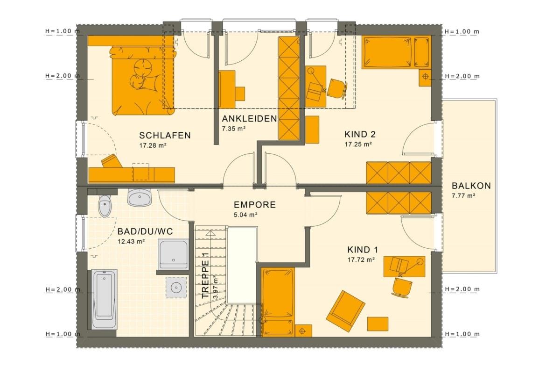 Einfamilienhaus Grundriss Obergeschoss mit Satteldach & Balkon, 5 Zimmer, 165 qm - Fertighaus SUNSHINE 165 V3 von Living Haus - HausbauDirekt.de