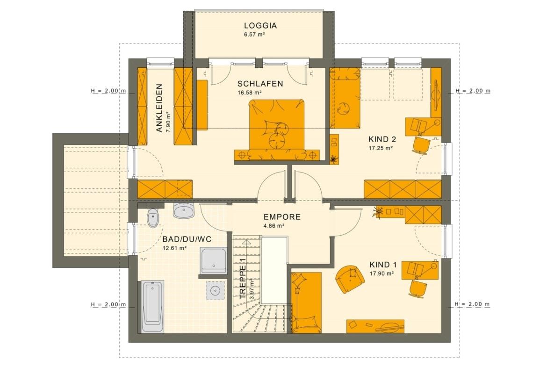 Einfamilienhaus Grundriss Obergeschoss mit Satteldach & Loggia, 5 Zimmer, 165 qm - Fertighaus SUNSHINE 165 V5 von Living Haus - HausbauDirekt.de