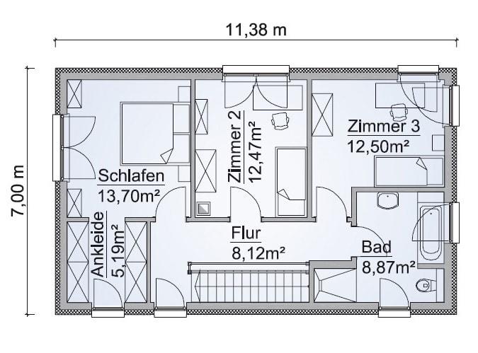 Einfamilienhaus Grundriss Obergeschoss mit Satteldach, Treppe gerade, 5 Zimmer, 123 qm - Fertighaus schlüsselfertig bauen Ideen ScanHaus Marlow Haus SH-127-S-Variante-A - HausbauDirekt.de