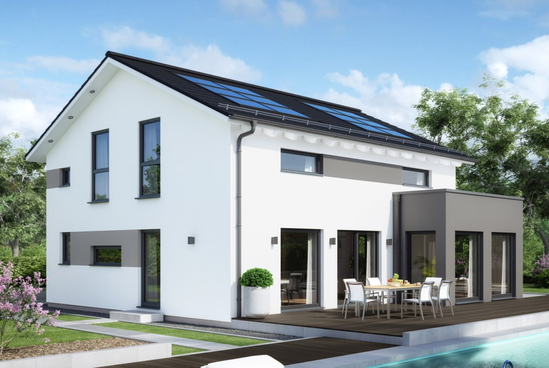 Einfamilienhaus Neubau modern mit Satteldach, Erker & Balkon, 5 Zimmer Grundriss, 165 qm - Fertighaus SUNSHINE 165 V4 von Living Haus - HausbauDirekt.de