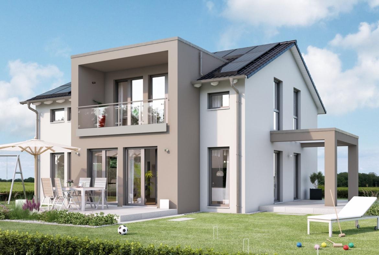 Einfamilienhaus Neubau modern mit Satteldach, Zwerchgiebel & Loggia - Fertighaus SUNSHINE 165 V5 von Living Haus - HausbauDirekt.de