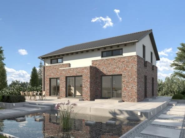 Einfamilienhaus Neubau modern mit Satteldach & Klinker Putz Fassade mit Erker, 160 qm, 5 Zimmer - Fertighaus Hainbuchenallee von GUSSEK HAUS - HausbauDirekt.de