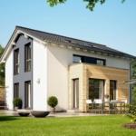 Einfamilienhaus modern mit flachem Satteldach, Erker & Holz Putz Fassade - Haus bauen Ideen Fertighaus SUNSHINE 113 V5 von Living Haus - HausbauDirekt.de