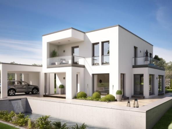 Einfamilienhaus modern im Bauhausstil mit Flachdach Architektur, Doppelcarport Garage & Erker mit Balkon - Haus bauen Ideen Bien Zenker Fertighaus EVOLUTION 134 V8 - HausbauDirekt.de