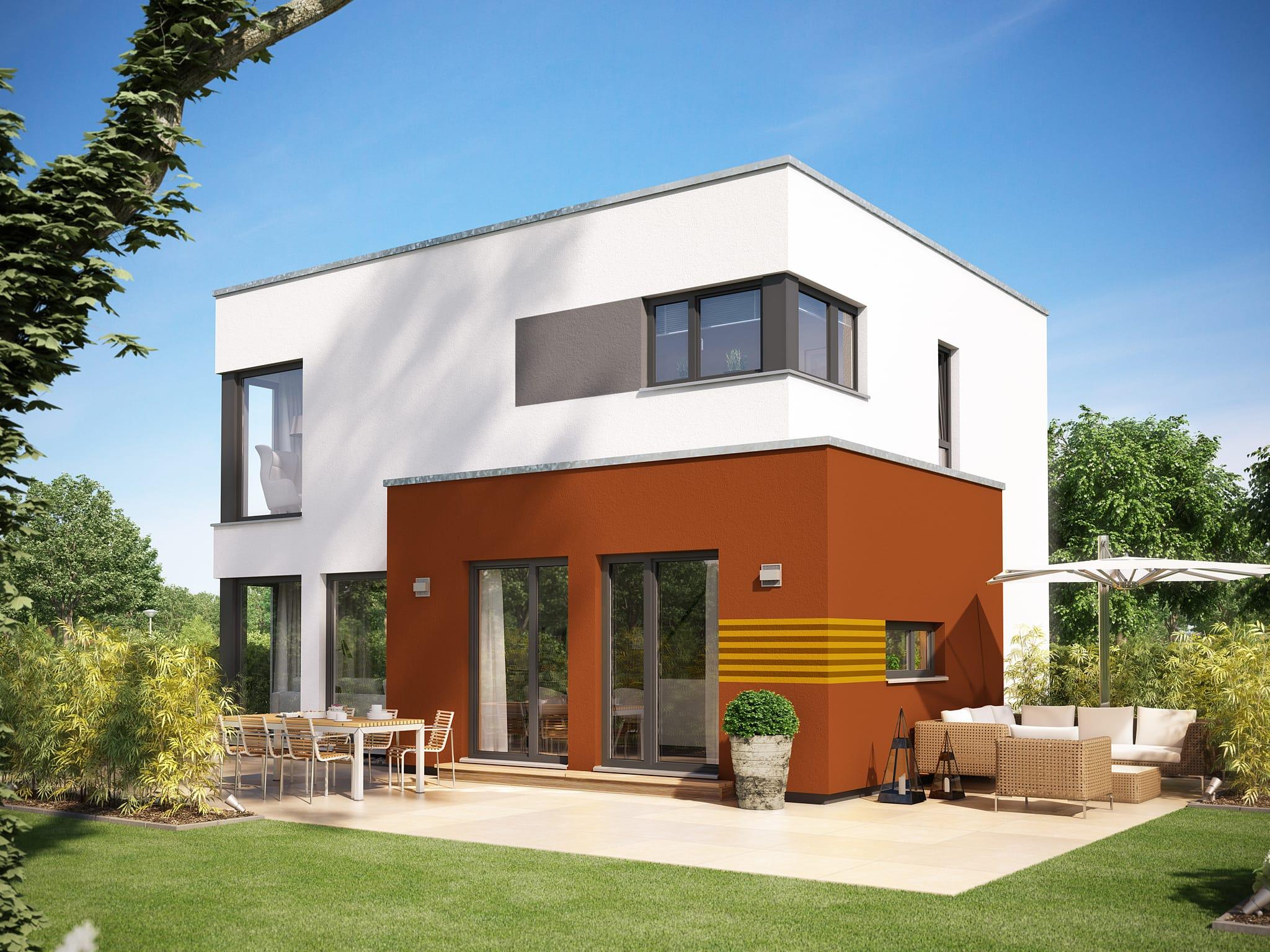 Einfamilienhaus Neubau modern mit Flachdach Architektur im Bauhausstil - Haus bauen Ideen Fertighaus Stadtvilla SUNSHINE 113 V8 von Living Haus - HausbauDirekt.de