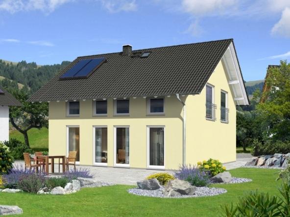Einfamilienhaus mit Satteldach flach im Landhausstil - Massivhaus FLAIR 125-SÜD von Town & Country Haus - HausbauDirekt.de