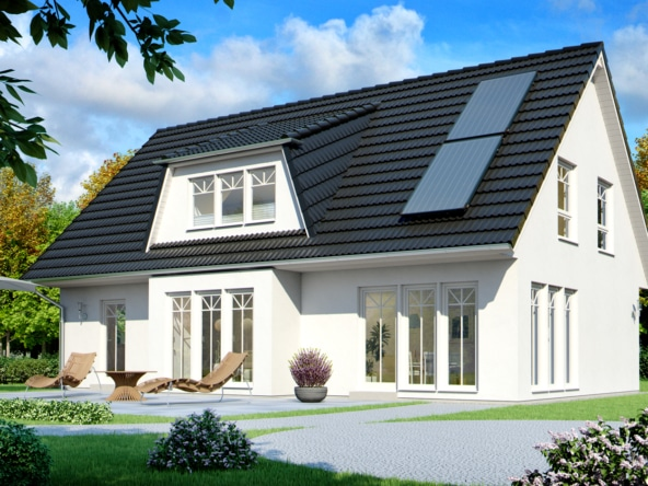 Einfamilienhaus im Landhausstil mit Satteldach Architektur, Erker Anbau & Gaube, 6 Zimmer, 146 qm - Haus bauen Ideen ScanHaus Marlow Fertighaus SH 160 VARIANTE A - HausbauDirekt.de