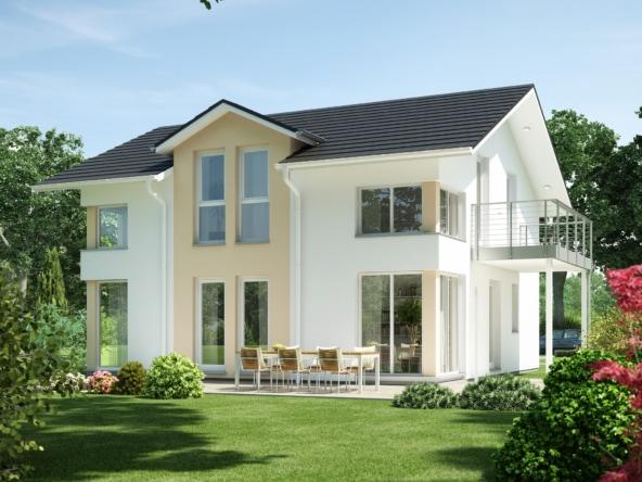 Elegantes Einfamilienhaus klassisch mit Satteldach Architektur, Zwerchgiebel & Balkon - Haus bauen Ideen Bien Zenker Fertighaus EVOLUTION 143 V5 - HausbauDirekt.de