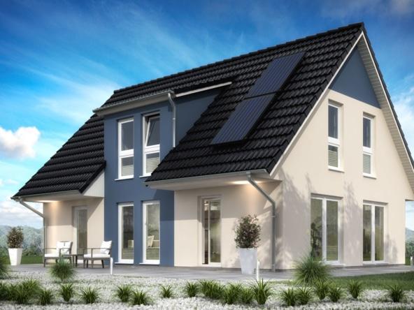 Einfamilienhaus klassisch mit Satteldach Architektur & Zwerchgiebel, 5 Zimmer, 127 qm - Fertighaus schlüsselfertig bauen Ideen ScanHaus Marlow Haus SH 142 FS - HausbauDirekt.de