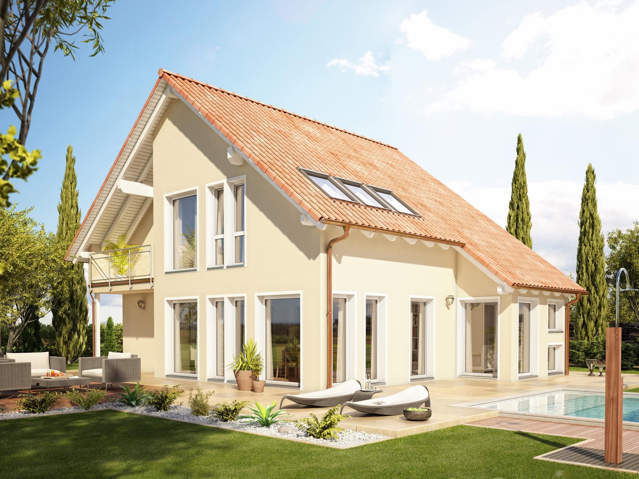 Einfamilienhaus mediterran mit Satteldach, Wintergarten Erker & Balkon - Haus bauen Ideen Bien Zenker Fertighaus EVOLUTION 139 V3 - HausbauDirekt.de