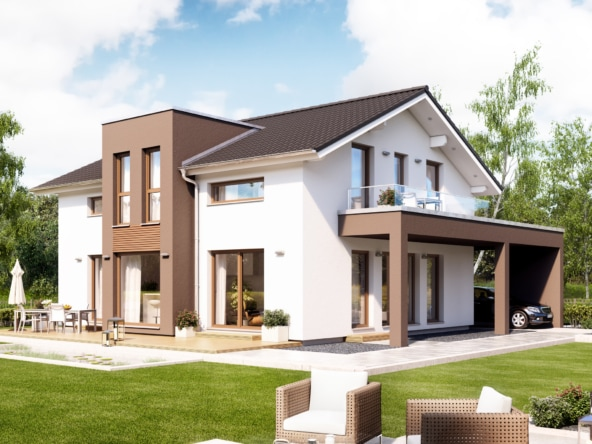 Einfamilienhaus mit Satteldach, Zwerchgiebel & Carport, 5 Zimmer, 165 qm - Haus bauen Ideen Bien Zenker Fertighaus FANTASTIC 162 V5 - HausbauDirekt.de