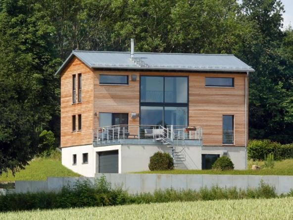 Einfamilienhaus modern mit Holz Fassade, Doppelgarage & Satteldach, 5 Zimmer, 210 qm - Fertighaus bauen Ideen Baufritz Haus SCHELLENBERG - HausbauDirekt.de