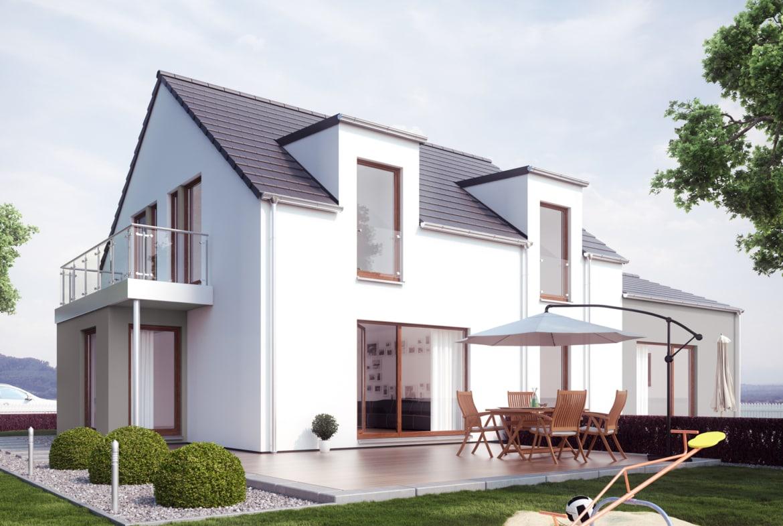 Modernes Einfamilienhaus mit Einliegerwohnung & Satteldach Architektur, 7 Zimmer, 180 qm - Fertighaus schlüsselfertig bauen Ideen Living Haus SOLUTION 183 V2 - HausbauDirekt.de