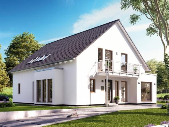 Einfamilienhaus mit Einliegerwohnung im Erdgeschoss, Satteldach Architektur, Erker & Balkon - Haus bauen Ideen Fertighaus SOLUTION 230 V3 von Living Haus - HausbauDirekt.de