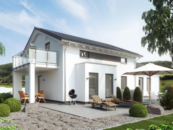 Einfamilienhaus mit Einliegerwohnung & Satteldach Architektur, 7 Zimmer Grundriss, 180 qm- Fertighaus schlüsselfertig bauen Ideen Living Haus SOLUTION 183 V4 - HausbauDirekt.de
