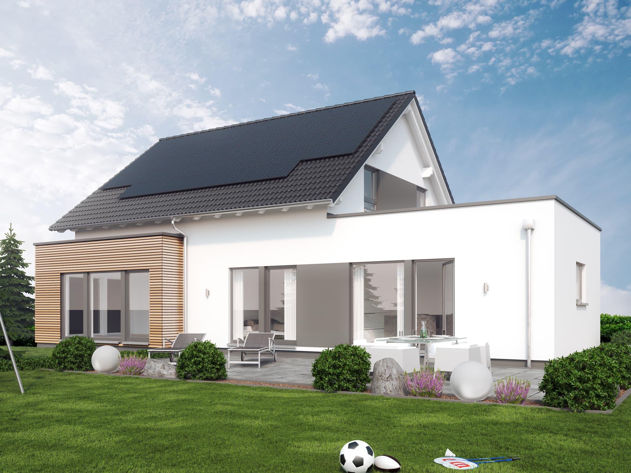 Einfamilienhaus mit Einliegerwohnung im Flachdach Anbau & Satteldach Architektur, 6 Zimmer, 180 qm - Fertighaus bauen Ideen Living Haus SOLUTION 183 V3 - HausbauDirekt.de