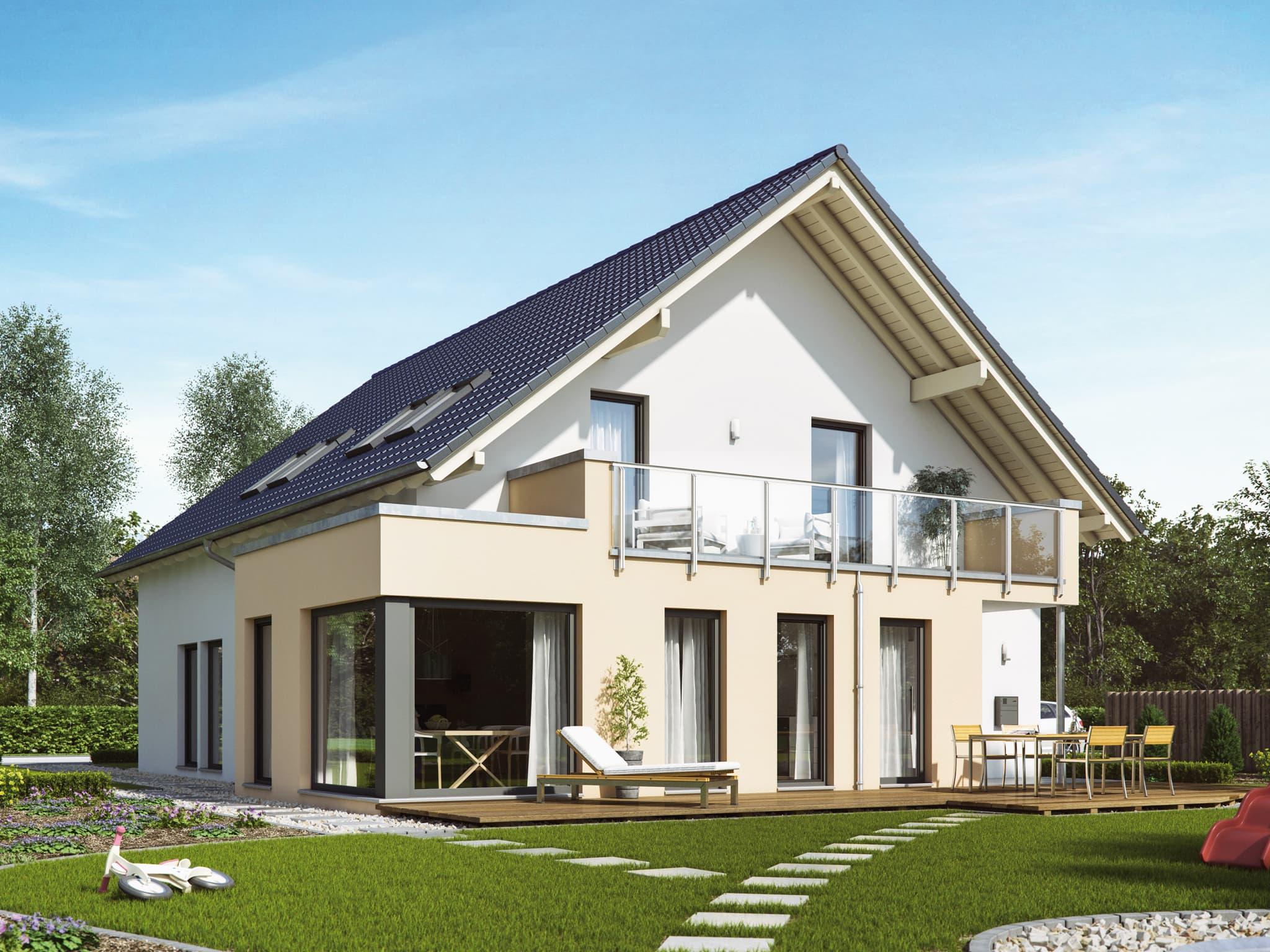 Klassisches Einfamilienhaus mit Einliegerwohnung, Satteldach Architektur, Wintergarten Erker & Balkon - Haus bauen Ideen Fertighaus SOLUTION 230 V2 von Living Haus - HausbauDirekt.de