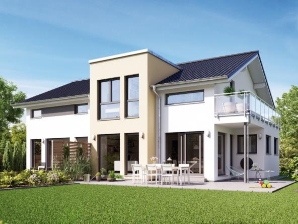 Einfamilienhaus mit Einliegerwohnung, Satteldach Architektur modern mit Zwerchgiebel Erker & Balkon - Haus bauen Ideen Fertighaus SOLUTION 230 V4 von Living Haus - HausbauDirekt.de