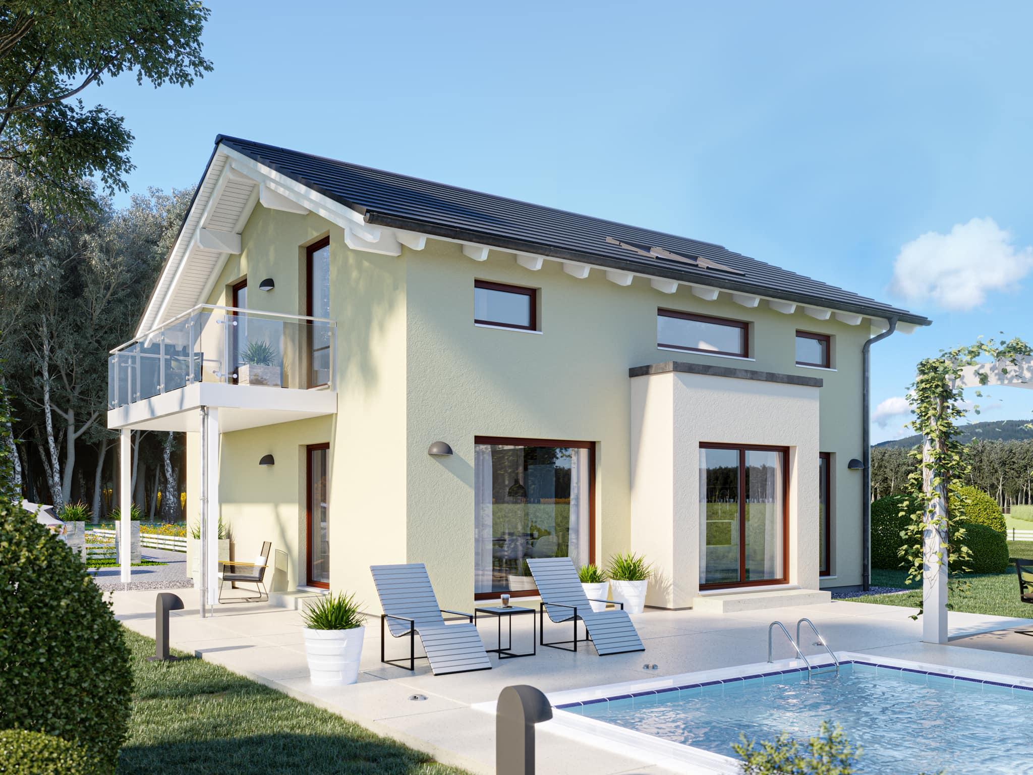 Einfamilienhaus Neubau mit Satteldach, Erker & Balkon, 4 Zimmer, 130 qm - Haus bauen Ideen Bien Zenker Fertighaus EDITION 134 V4 - HausbauDirekt.de