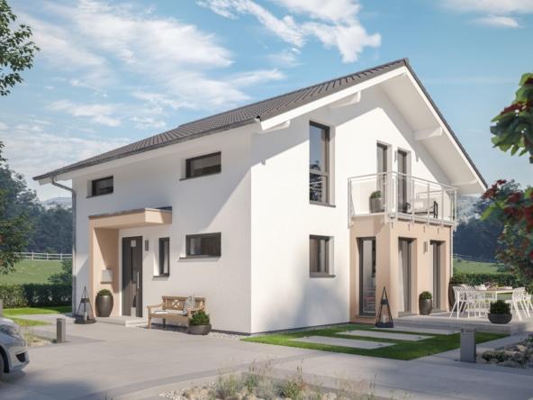 Modernes Einfamilienhaus mit Satteldach flach, Erker & Balkon - Haus bauen Ideen Bien Zenker Fertighaus EVOLUTION 139 V6 - HausbauDirekt.de