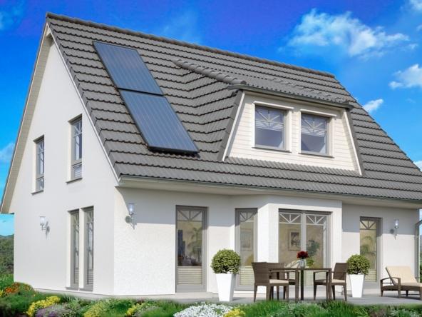 Einfamilienhaus mit Erker, Satteldach & Gaube, 130 qm, 4 Zimmer - Haus bauen Ideen ScanHaus Marlow Fertighaus SH 156 Variante B - HausbauDirekt.de