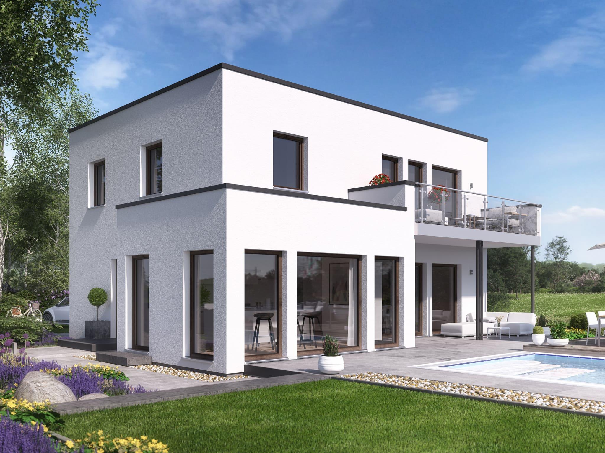 Einfamilienhaus modern mit Flachdach Architektur im Bauhausstil, Erker mit Balkon & Pool Terrasse - Haus bauen Ideen Bien Zenker Fertighaus EVOLUTION 139 V9 - HausbauDirekt.de
