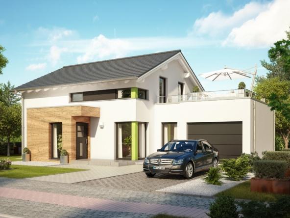 Modernes Einfamilienhaus mit Garage, Dachterrasse & Satteldach Architektur - Haus bauen Ideen Bien Zenker Fertighaus EVOLUTION 143 V6 - HausbauDirekt.de